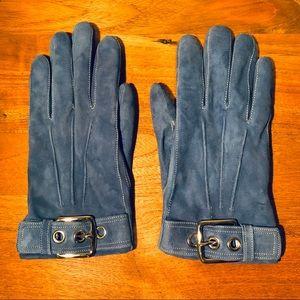 Blue Suede Coach Gloves